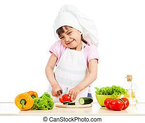 zdrowy, na, mistrz kucharski, jadło, przygotowując, tło, dziewczyna, biały
