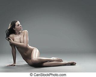 zdrowy, obraz, kobieta, nagi