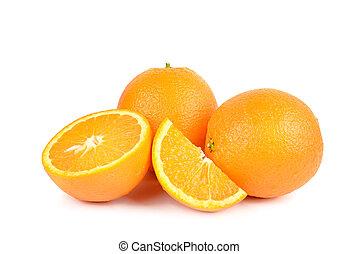 zdrowy, odizolowany, jadło., tło., pomarańcza, biały