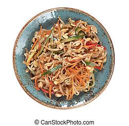 zdrowy, płyta, japończyk, sałata, jadło.