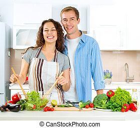 zdrowy, para, kucharstwo jadło, dieting., razem., szczęśliwy