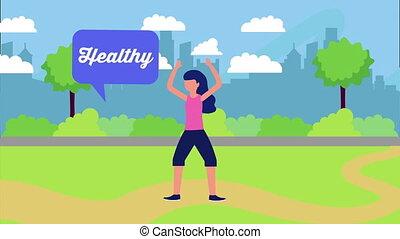 zdrowy, park, atleta, styl życia, samica