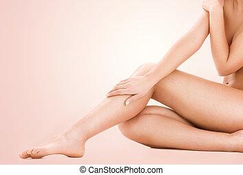 zdrowy, piękna kobieta, nogi