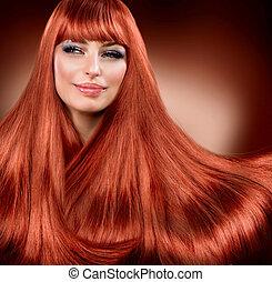 zdrowy, prosty, czerwony, rozciąganie, hair.
