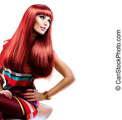 zdrowy, prosty, długi, czerwony, hair., fason, piękno, wzór, dziewczyna