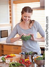 zdrowy, przygotowując, kobieta, mąka