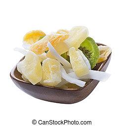 zdrowy, puchar, zmieszać, zasuszony, owoce, food: