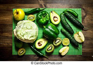 zdrowy, różny, owoce, vegetables., jadło.