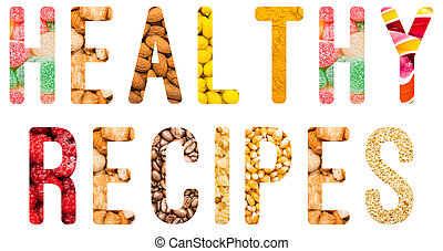 zdrowy, recepty, pojęcie, słowo