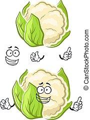 zdrowy, roślina, litera, rysunek, kalafior