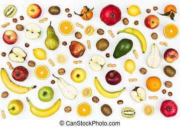 zdrowy, smakowity, jedzenie, tło, owoce