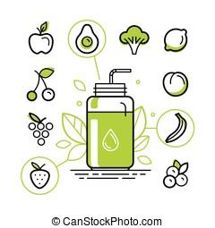 zdrowy, smoothie, konstruktor, infographics, zaprojektujcie elementy