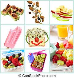 zdrowy, snacking, dzieciaki, zbiór