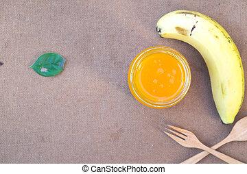 zdrowy, sok, jadło, banan, pomarańcza