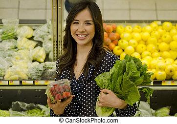 zdrowy, sprytny, kobieta, jadło, kupno