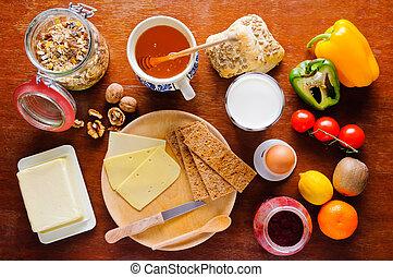 zdrowy, stół, śniadaniowe jadło