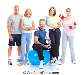 zdrowy, starszy, ludzie.