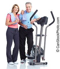 zdrowy, stosowność, sala gimnastyczna, styl życia