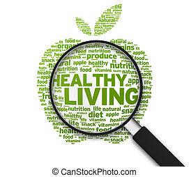 zdrowy, szkło, -, powiększający, żyjący