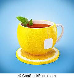 zdrowy, tea., napój, cytryna, jadło.