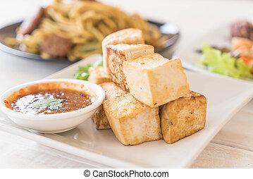 zdrowy, tofu, smażył, -, jadło