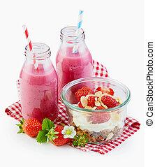 zdrowy, truskawka, śniadanie, smoothies