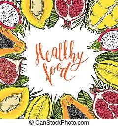 zdrowy, ułożyć, leaves., jadło., tropikalny, tło., słówko, owoce, biały