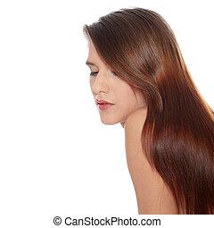 zdrowy, włosy, kobieta, długi