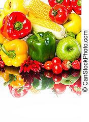 zdrowy, warzywa, białe tło, owoce