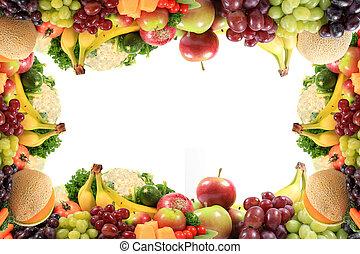 zdrowy, warzywa, ułożyć, owoce, brzeg, albo