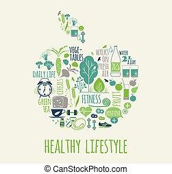 zdrowy, wektor, styl życia, illustration.