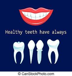 zdrowy, wektor, wpaja, zęby