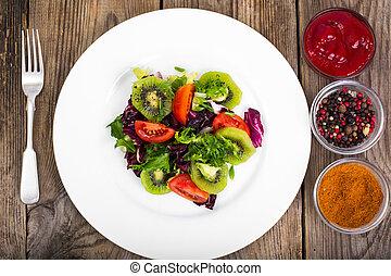 zdrowy, zmieszać, jadło, pomidory, sałata