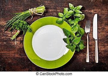 zdrowy, zmontowanie, miejsce, świeży, ziołowy, zielony