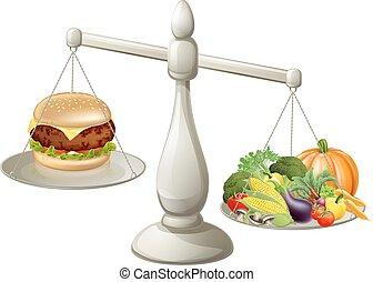 zdrowy, zrównoważony, jedzenie, dieta