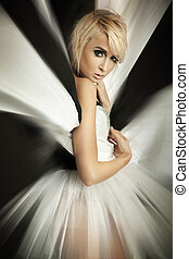 zdumiewający, blondynka, dziewczyna, w, piękny, strój