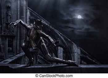 zdumiewający, catwoman, polowanie, noc