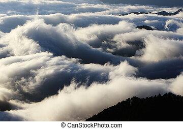 zdumiewający, chmura, morze