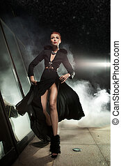 zdumiewający, fotografia, od, runing, kobieta, w, piękny, strój