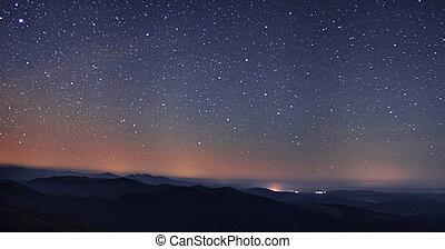 zdumiewający, gwiazda, noc