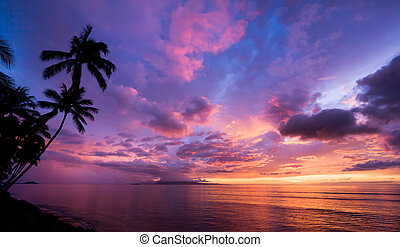zdumiewający, zachód słońca, hawaje