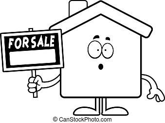 zdziwiony, rysunek, dom, sprzedaż
