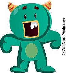 zdziwiony, wektor, zielony potwór, ilustracja