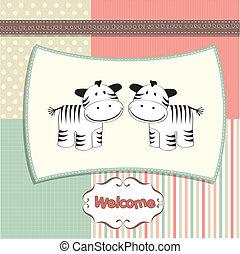 ze, llegado, nuevo bebé, gemelos, tarjeta