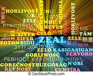 Zeal multilanguage wordcloud background concept glowing