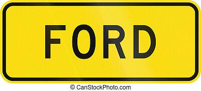 zealand, -, フォード, 警告, 新しい, 印, 道