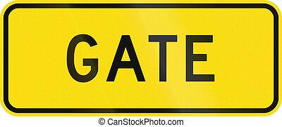 zealand, -, 印, 警告, 新しい, 門, 道