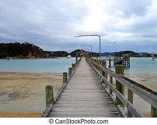 zealand, 島, 木製である, 長い湾, urupukapuka, 突堤, 新しい, 島