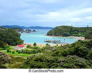 zealand, 島, 湾, urupukapuka, 新しい, 島