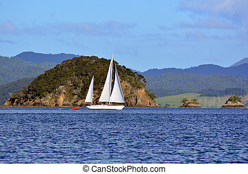 Zealand, 帆, ヨット, 湾, 島, 新しい